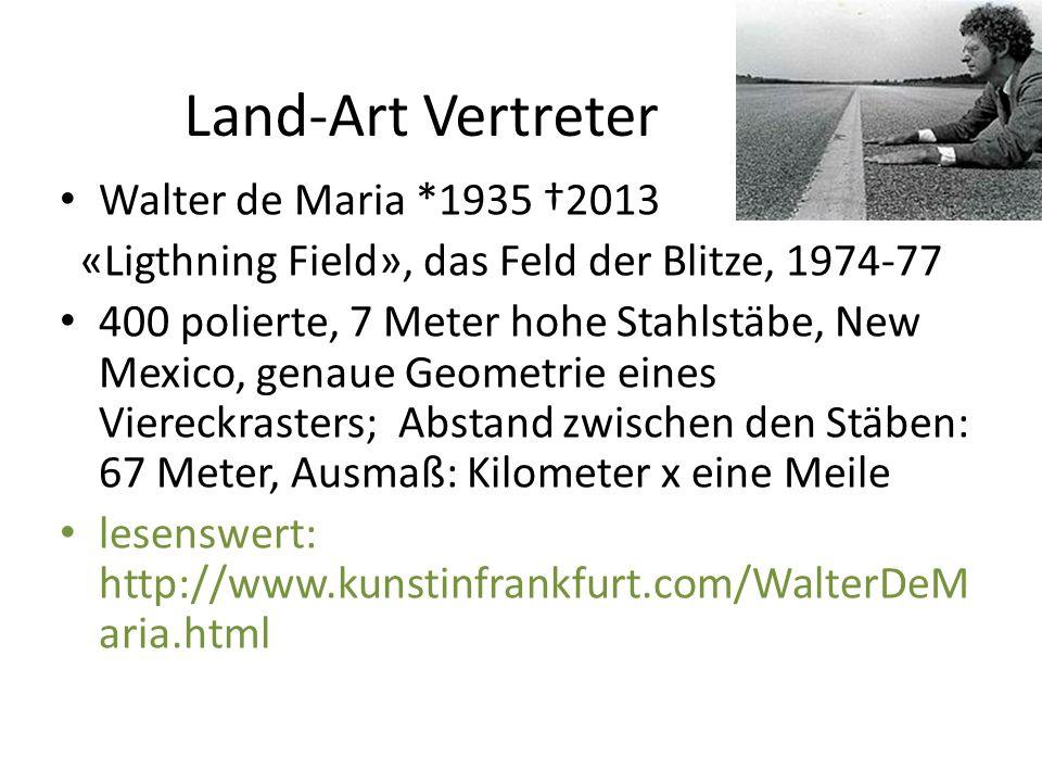 Land-Art Vertreter Walter de Maria *1935 †2013 «Ligthning Field», das Feld der Blitze, 1974-77 400 polierte, 7 Meter hohe Stahlstäbe, New Mexico, gena