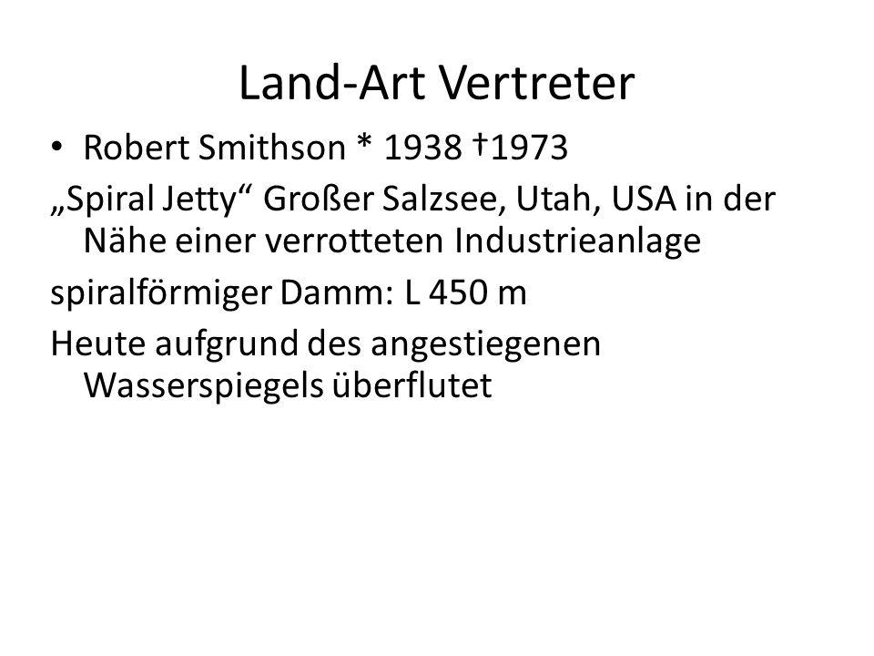 """Land-Art Vertreter Robert Smithson * 1938 †1973 """"Spiral Jetty"""" Großer Salzsee, Utah, USA in der Nähe einer verrotteten Industrieanlage spiralförmiger"""