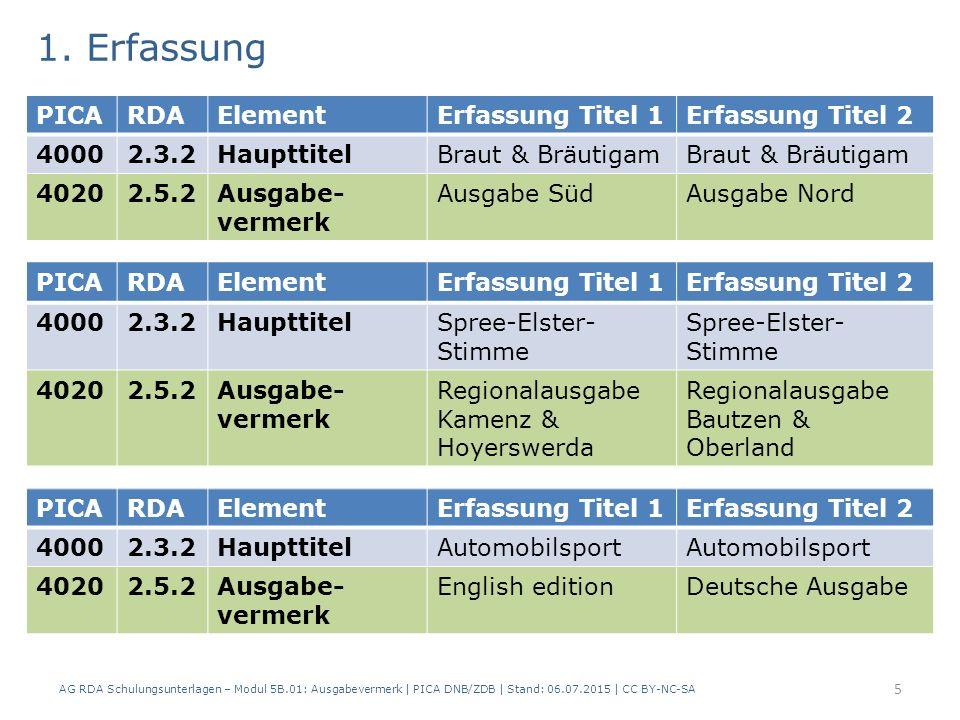 4.Änderungen Neue Beschreibung Gemeinsame Angabe von Haupttitel und Untergliederung(en): Filati.