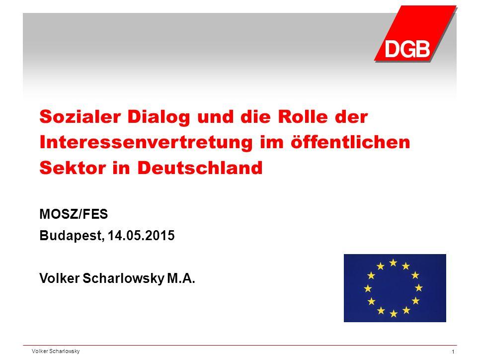Sozialer Dialog und die Rolle der Interessenvertretung im öffentlichen Sektor in Deutschland MOSZ/FES Budapest, 14.05.2015 Volker Scharlowsky M.A. Vol