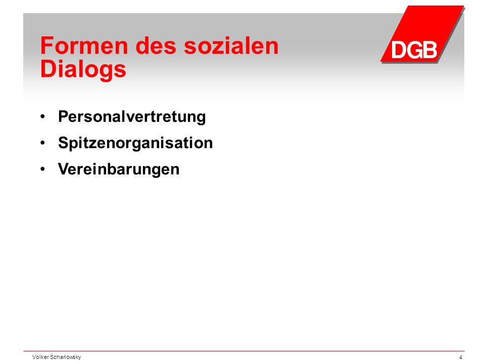 Formen des sozialen Dialogs Personalvertretung Spitzenorganisation Vereinbarungen Volker Scharlowsky 4