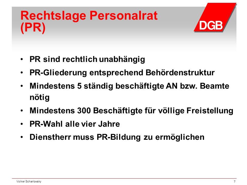 Rechtslage Personalrat (PR) PR sind rechtlich unabhängig PR-Gliederung entsprechend Behördenstruktur Mindestens 5 ständig beschäftigte AN bzw. Beamte