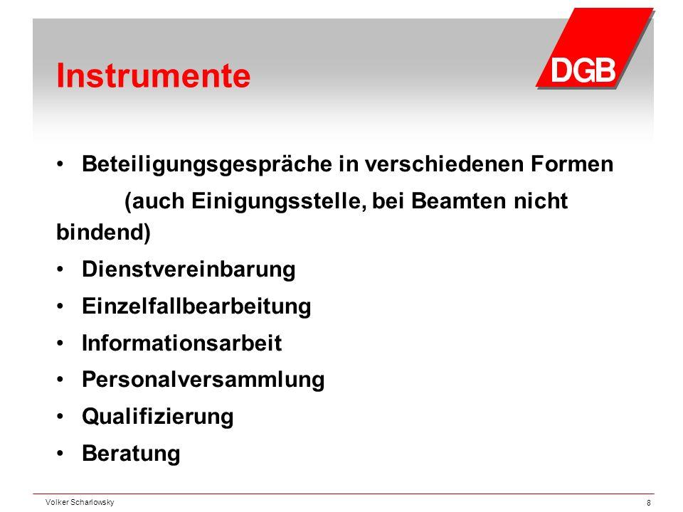 Instrumente Beteiligungsgespräche in verschiedenen Formen (auch Einigungsstelle, bei Beamten nicht bindend) Dienstvereinbarung Einzelfallbearbeitung I