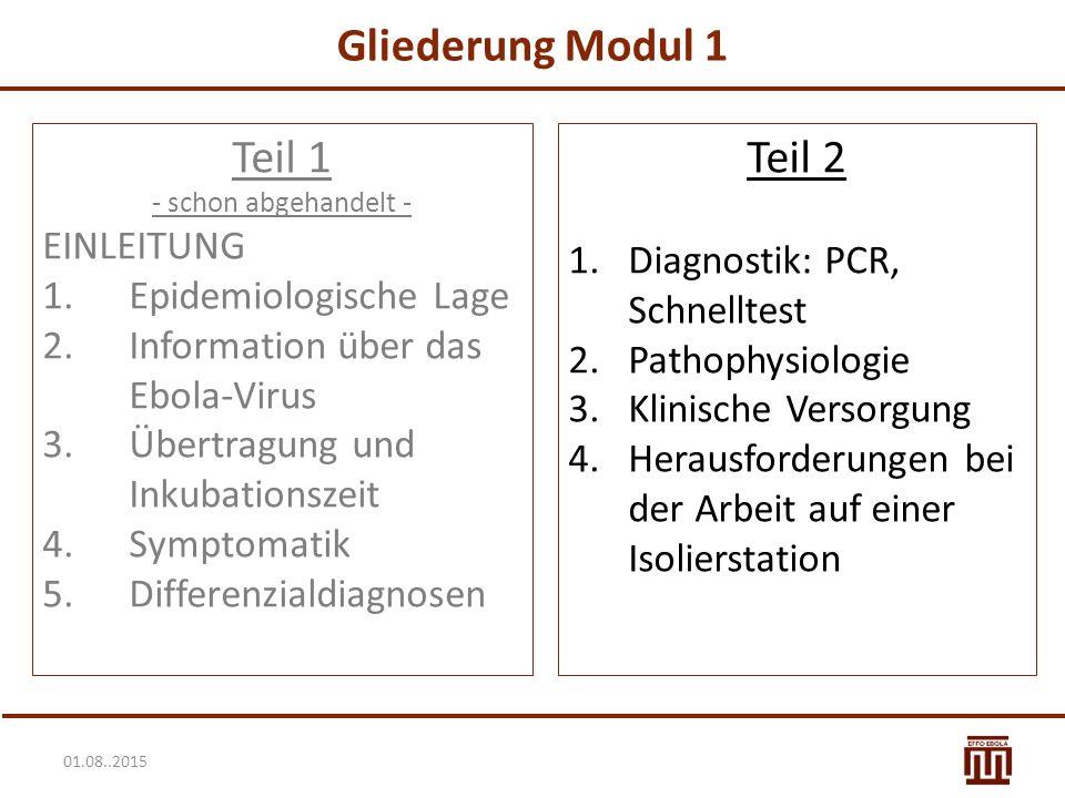 01.08..2015 Gliederung Modul 1 Teil 1 - schon abgehandelt - EINLEITUNG 1.Epidemiologische Lage 2.Information über das Ebola-Virus 3.Übertragung und Inkubationszeit 4.Symptomatik 5.Differenzialdiagnosen Teil 2 1.Diagnostik: PCR, Schnelltest 2.Pathophysiologie 3.Klinische Versorgung 4.Herausforderungen bei der Arbeit auf einer Isolierstation