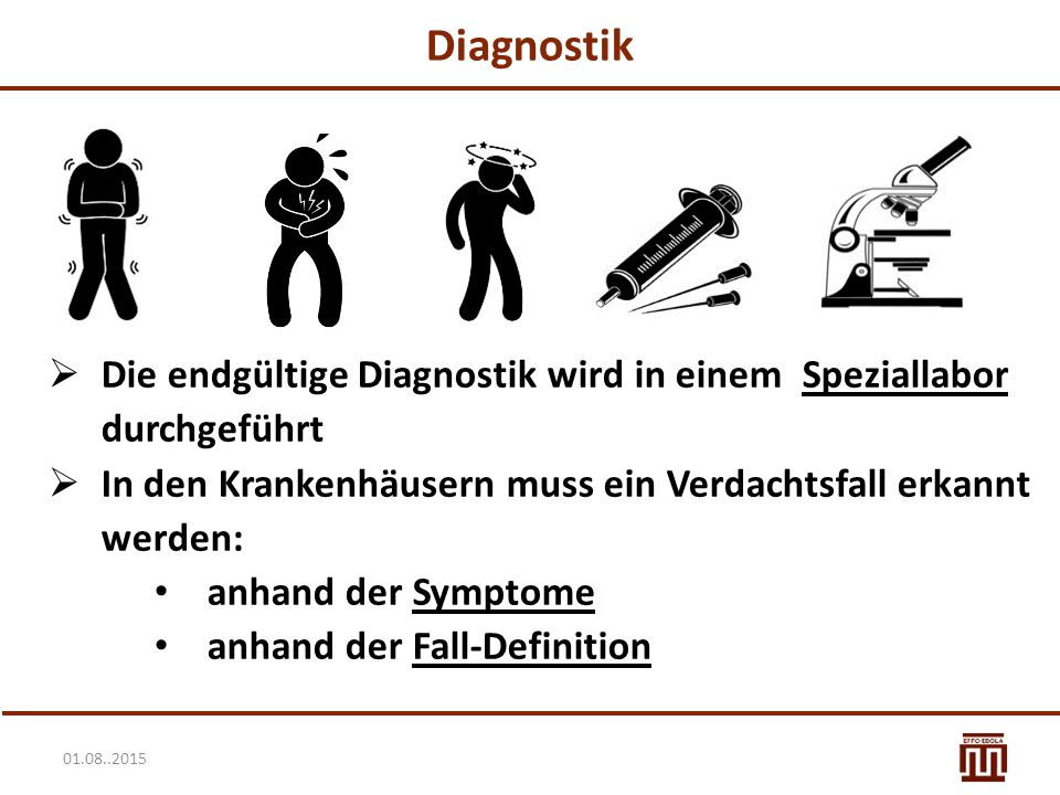 01.08..2015 Diagnostik  Die endgültige Diagnostik wird in einem Speziallabor durchgeführt  In den Krankenhäusern muss ein Verdachtsfall erkannt werden: anhand der Symptome anhand der Fall-Definition