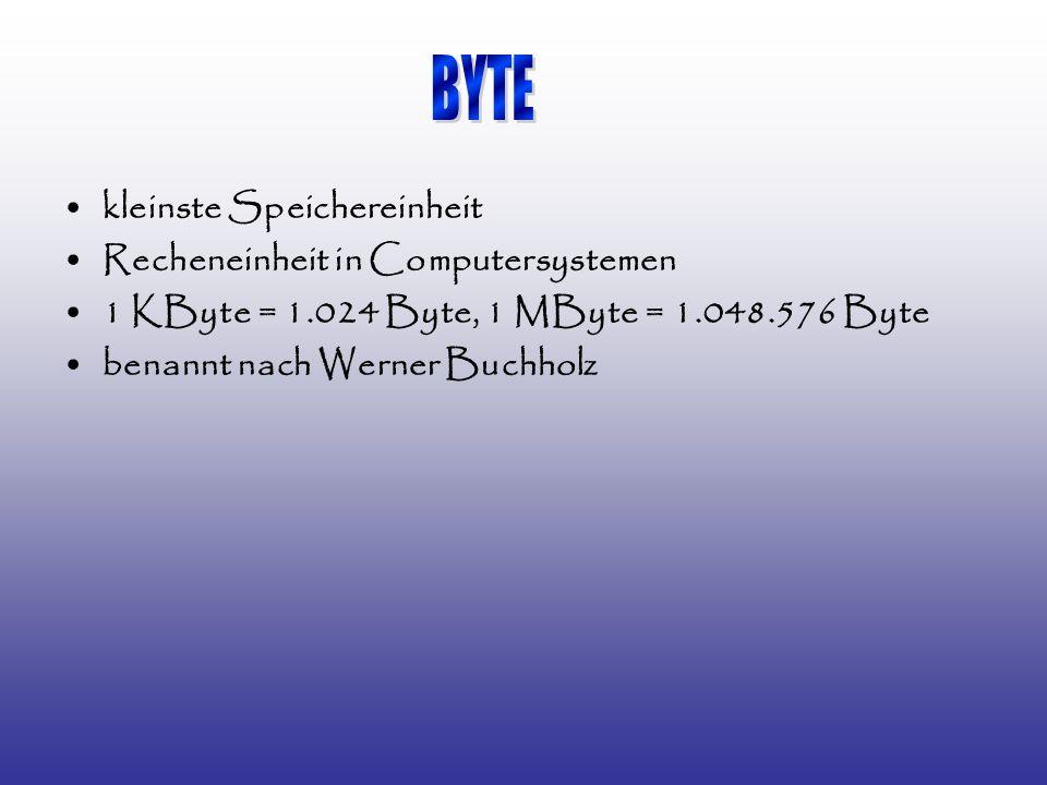 kleinste Speichereinheit Recheneinheit in Computersystemen 1 KByte = 1.024 Byte, 1 MByte = 1.048.576 Byte benannt nach Werner Buchholz