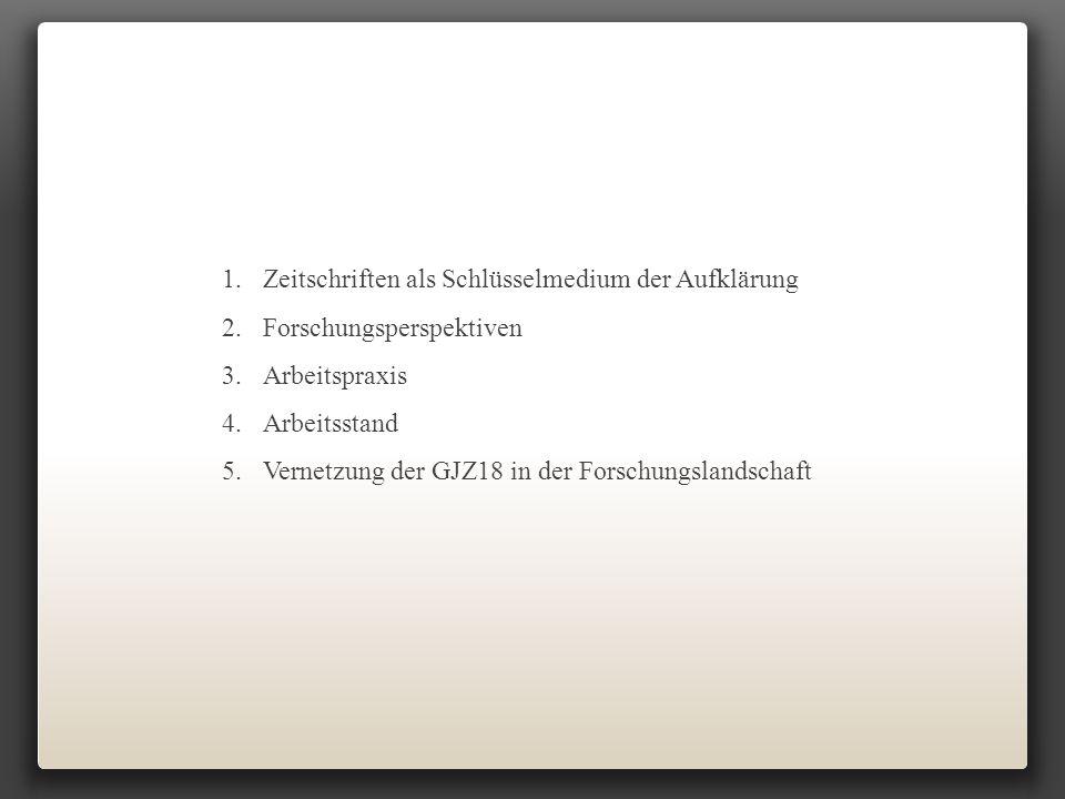 1.Zeitschriften als Schlüsselmedium der Aufklärung 2.Forschungsperspektiven 3.Arbeitspraxis 4.Arbeitsstand 5.Vernetzung der GJZ18 in der Forschungslan