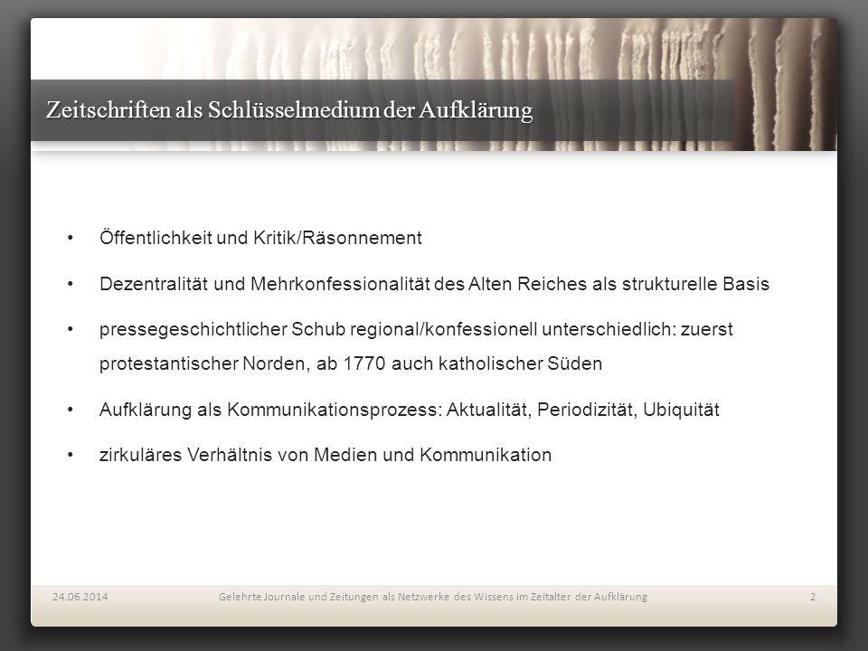 Zeitschriften als Schlüsselmedium der Aufklärung Öffentlichkeit und Kritik/Räsonnement Dezentralität und Mehrkonfessionalität des Alten Reiches als st