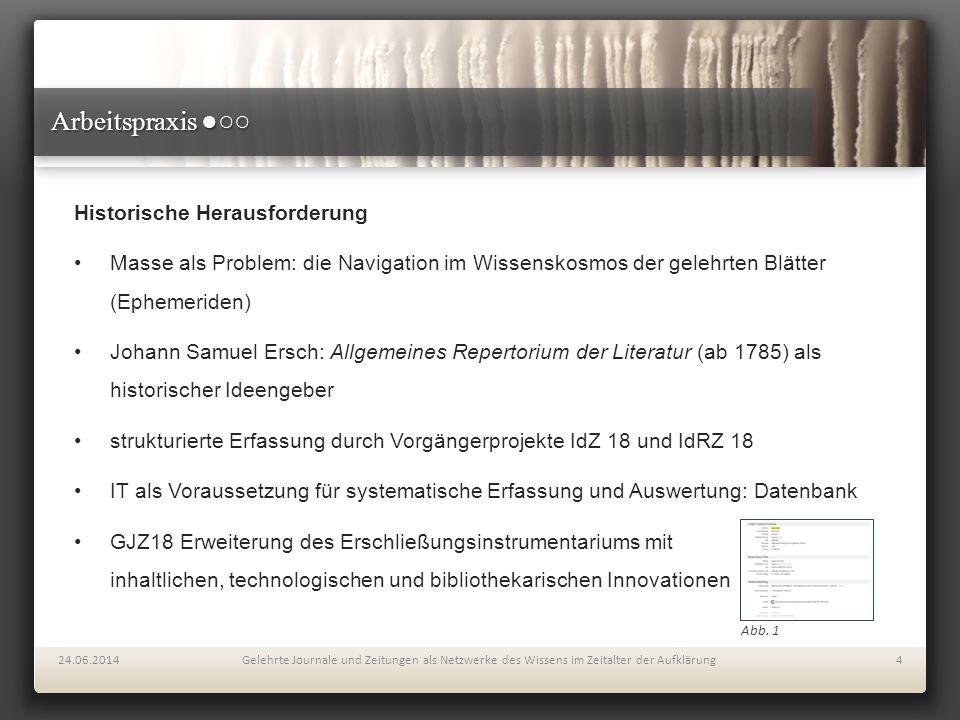 Arbeitspraxis ●○○ Historische Herausforderung Masse als Problem: die Navigation im Wissenskosmos der gelehrten Blätter (Ephemeriden) Johann Samuel Ers