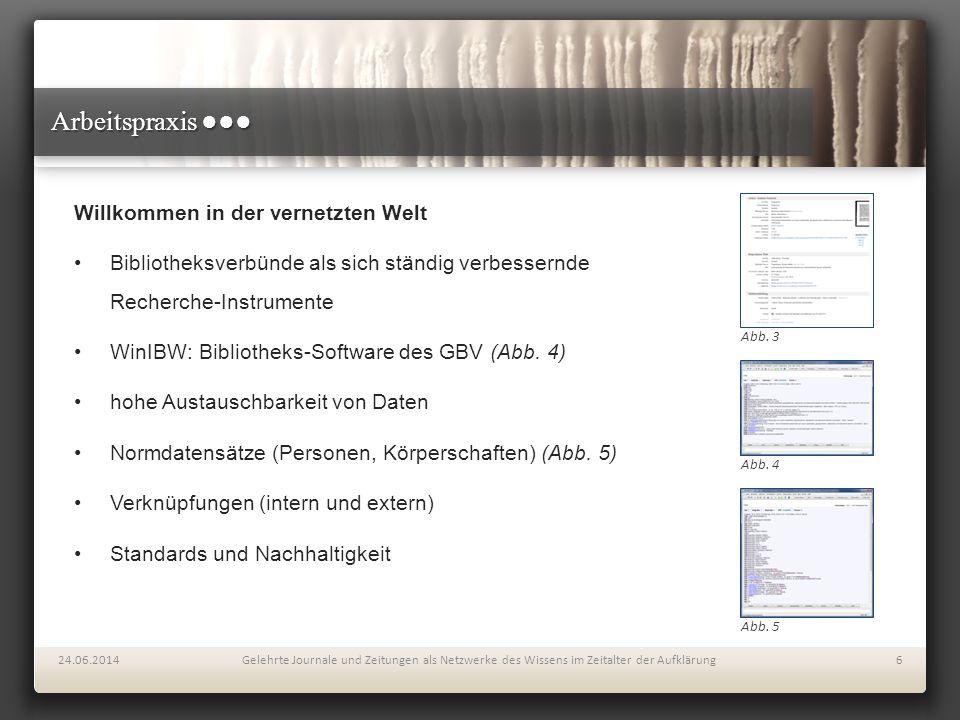 Arbeitspraxis ●●● Willkommen in der vernetzten Welt Bibliotheksverbünde als sich ständig verbessernde Recherche-Instrumente WinIBW: Bibliotheks-Softwa