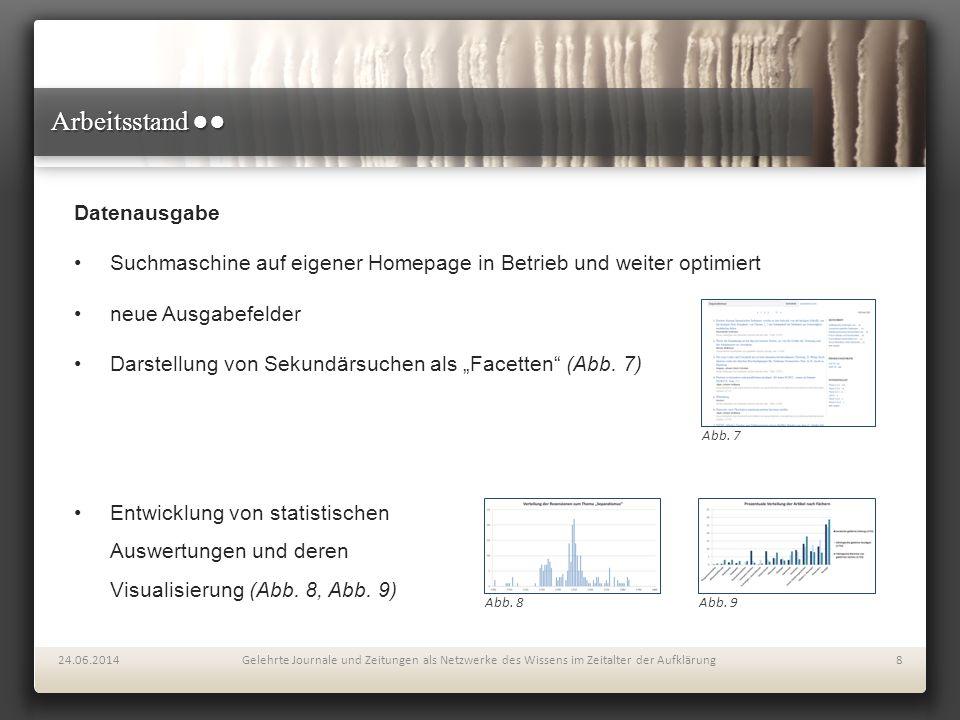 """Arbeitsstand ●● Datenausgabe Suchmaschine auf eigener Homepage in Betrieb und weiter optimiert neue Ausgabefelder Darstellung von Sekundärsuchen als """""""