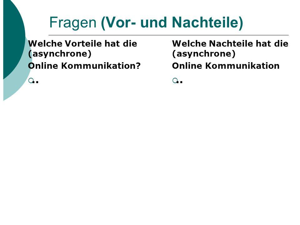 Fragen (f2f versus online) In welchen Kontexten des Fremd- sprachenlernens eignet sich die online Kommunikation?