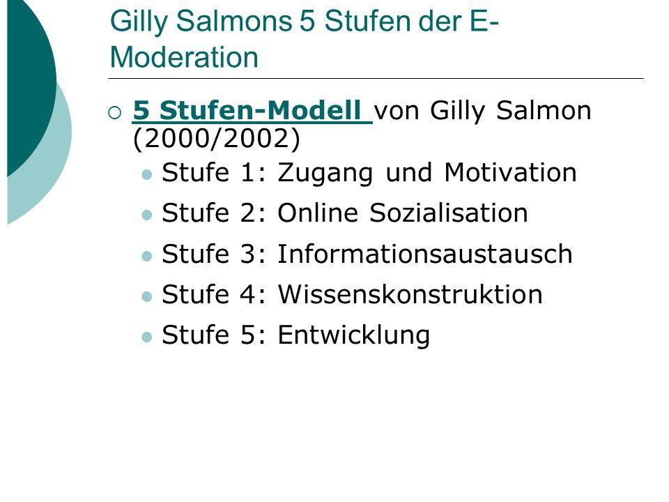 Gilly Salmons 5-Stufen Modell  Aufbauen einer Online Gemeinschaft, Einführen technischer Fertigkeiten, und mehr Unterstützung durch den Tutor in den Anfangsstufen; Entwickeln von Lerner-Autonomie in den höheren Stufen  E-tivity: gut strukturierte Online Aktivitäten (E-tivitäten) in Computer gestützter Kommunikation (CMC) Siehe auch 5-Stufen Modell (deutsch) und 5-Stage Model (englisch)5-Stufen Modell5-Stage Model