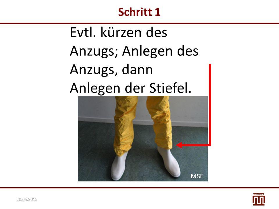 Evtl. kürzen des Anzugs; Anlegen des Anzugs, dann Anlegen der Stiefel. Schritt 1 MSF 20.05.2015 MSF