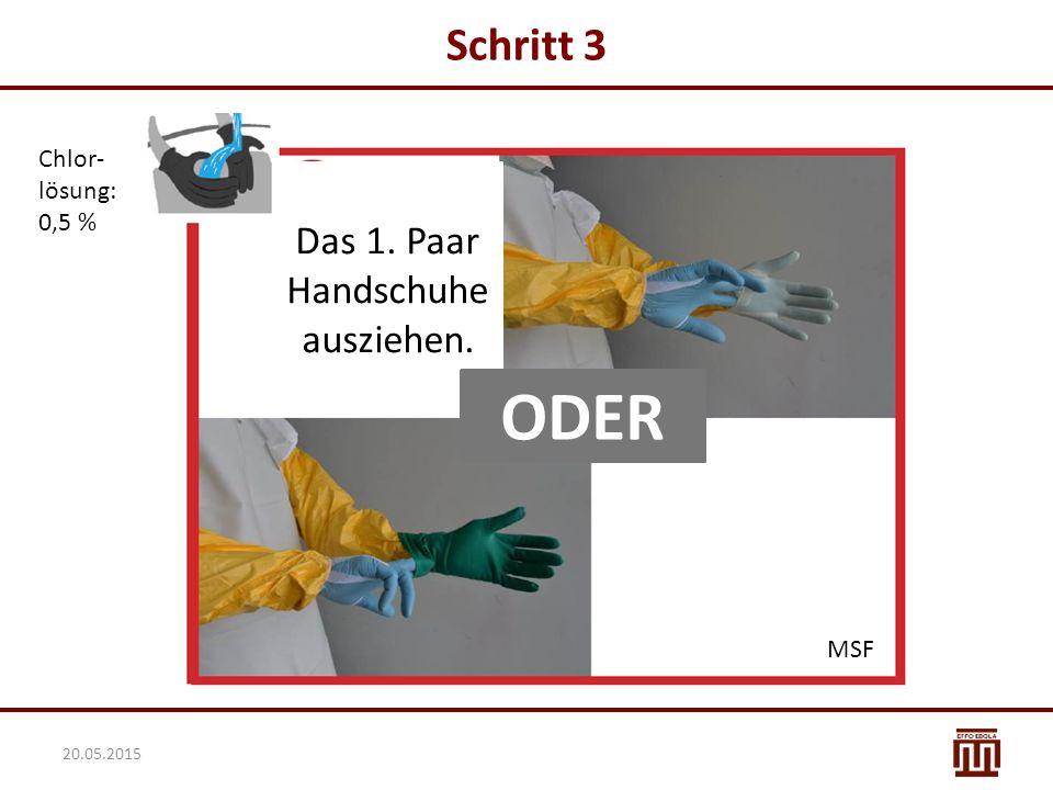 Schritt 3 Chlor- lösung: 0,5 % Das 1. Paar Handschuhe ausziehen. ODER MSF 20.05.2015