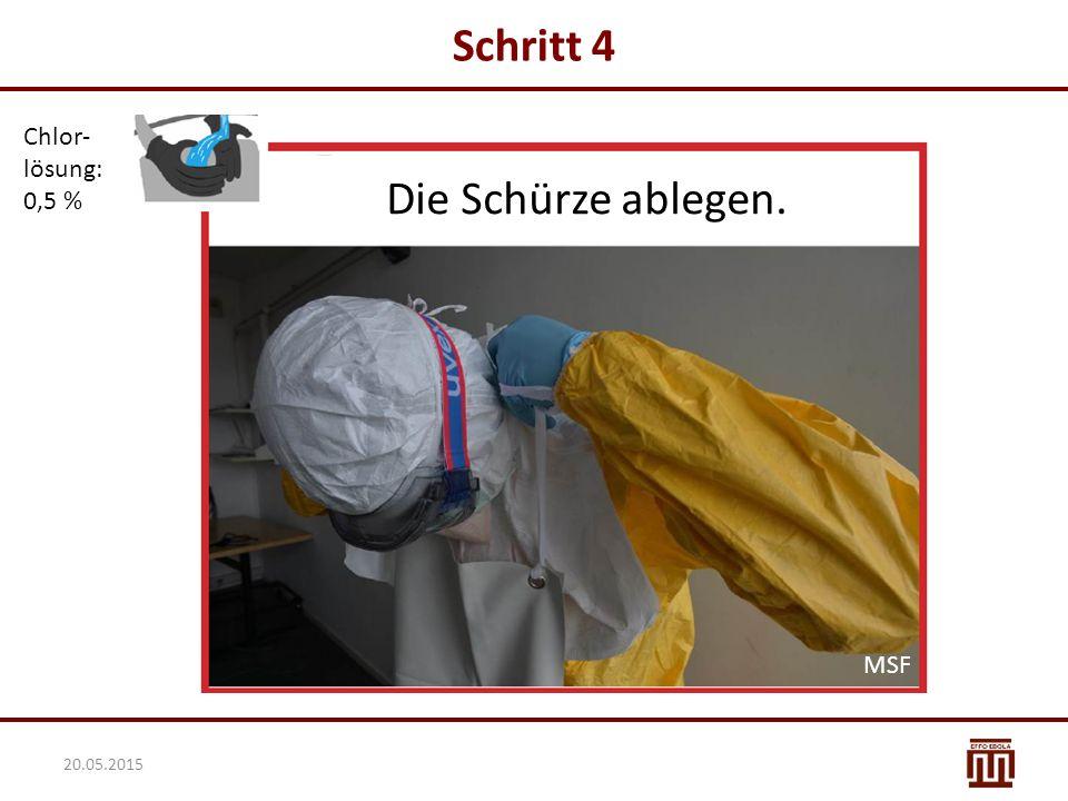 Schritt 4 Chlor- lösung: 0,5 % Die Schürze ablegen. MSF 20.05.2015