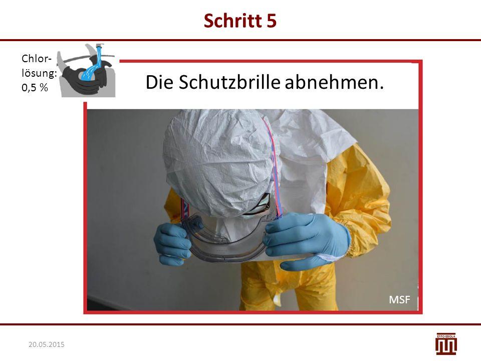 Schritt 5 Chlor- lösung: 0,5 % Die Schutzbrille abnehmen. MSF 20.05.2015