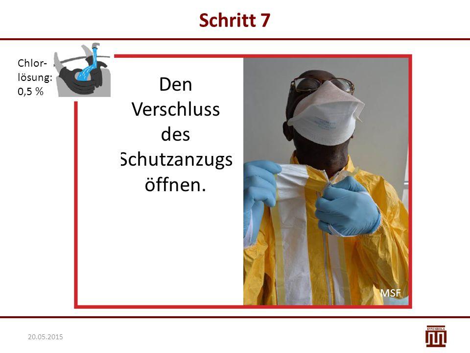 Schritt 7 Chlor- lösung: 0,5 % Den Verschluss des Schutzanzugs öffnen. MSF 20.05.2015