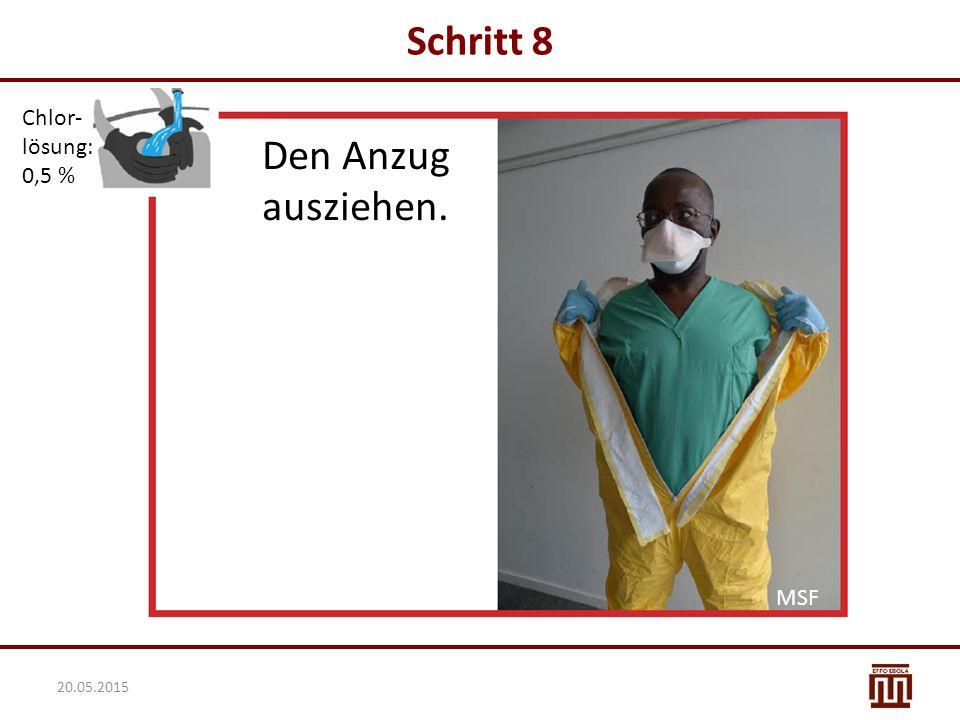 Schritt 8 Chlor- lösung: 0,5 % Den Anzug ausziehen. MSF 20.05.2015