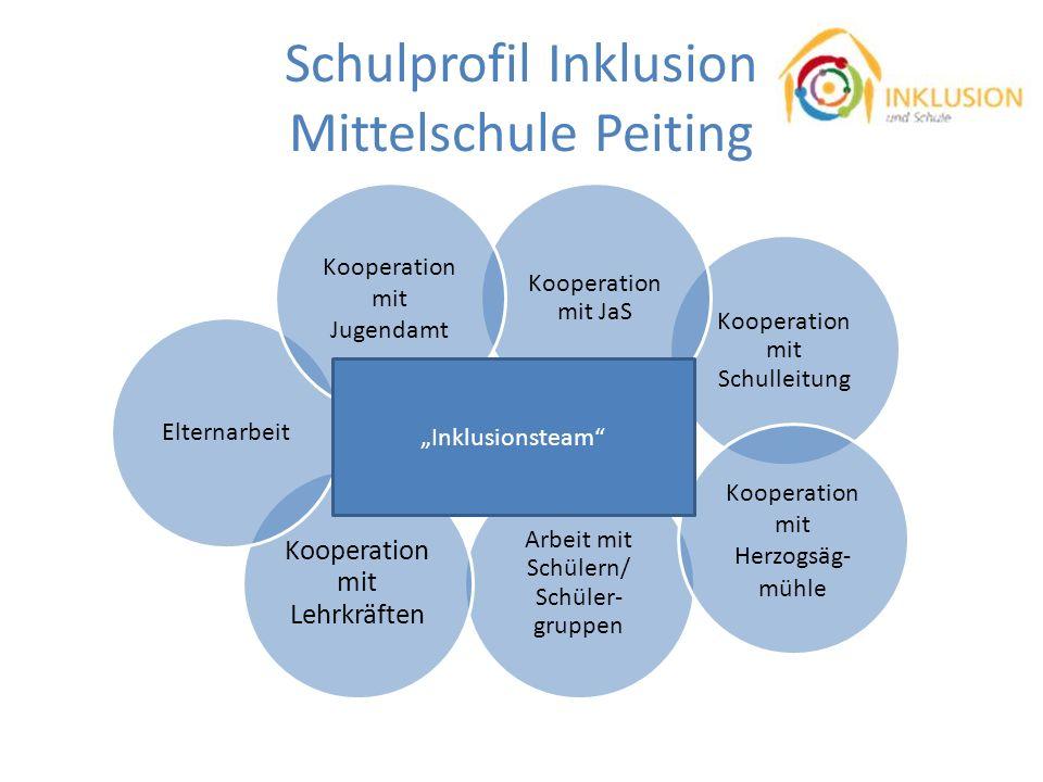 Schulprofil Inklusion Mittelschule Peiting Arbeit mit Schülern/ Schüler- gruppen Kooperation mit Lehrkräften Kooperation mit Schulleitung Elternarbeit