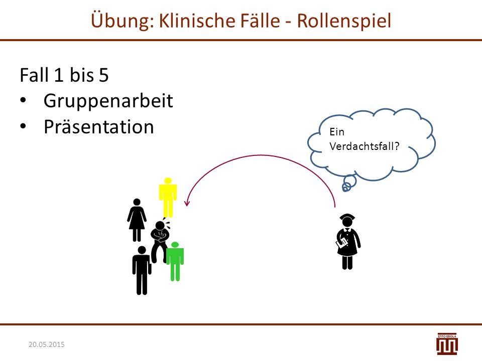 Übung: Klinische Fälle - Rollenspiel Fall 1 bis 5 Gruppenarbeit Präsentation Ein Verdachtsfall? 20.05.2015