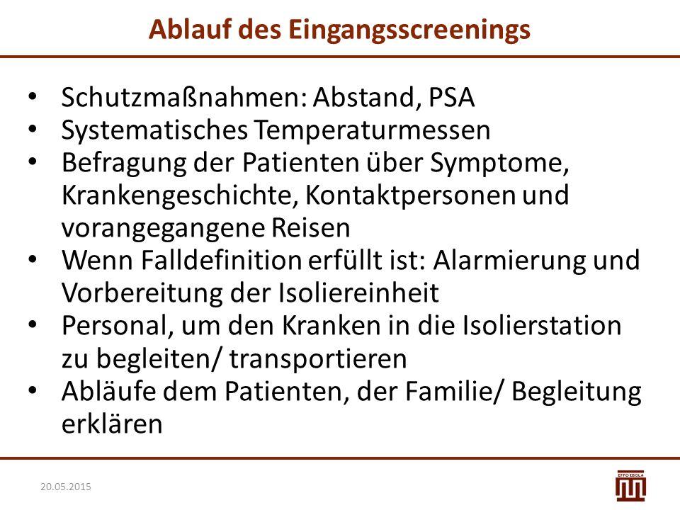 Ablauf des Eingangsscreenings Schutzmaßnahmen: Abstand, PSA Systematisches Temperaturmessen Befragung der Patienten über Symptome, Krankengeschichte,