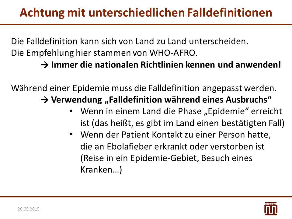 Achtung mit unterschiedlichen Falldefinitionen Die Falldefinition kann sich von Land zu Land unterscheiden. Die Empfehlung hier stammen von WHO-AFRO.