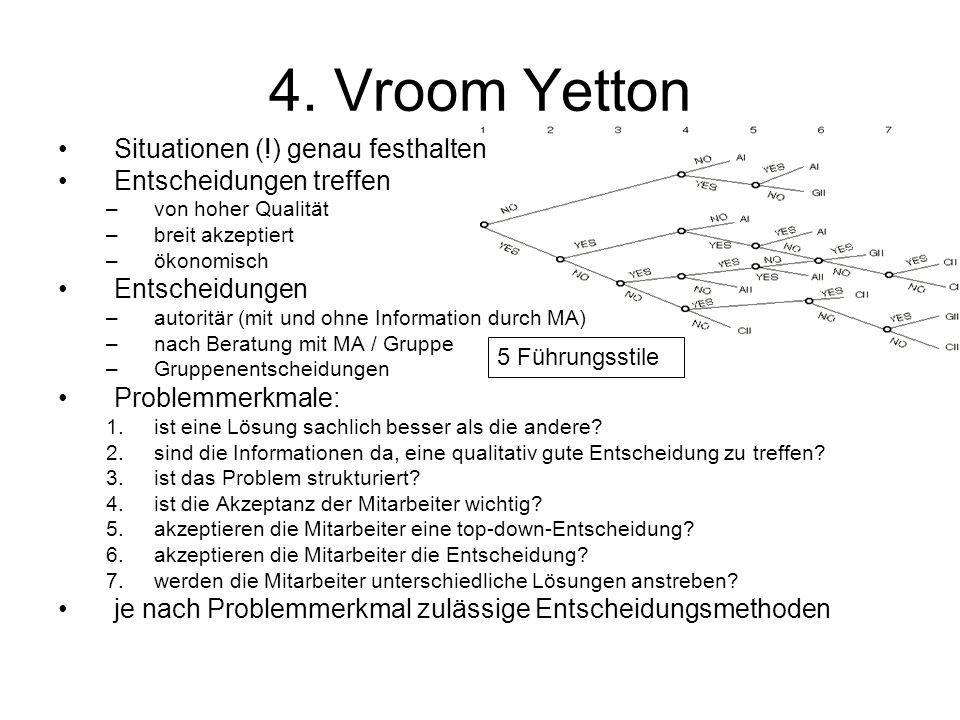 4. Vroom Yetton Situationen (!) genau festhalten Entscheidungen treffen –von hoher Qualität –breit akzeptiert –ökonomisch Entscheidungen –autoritär (m