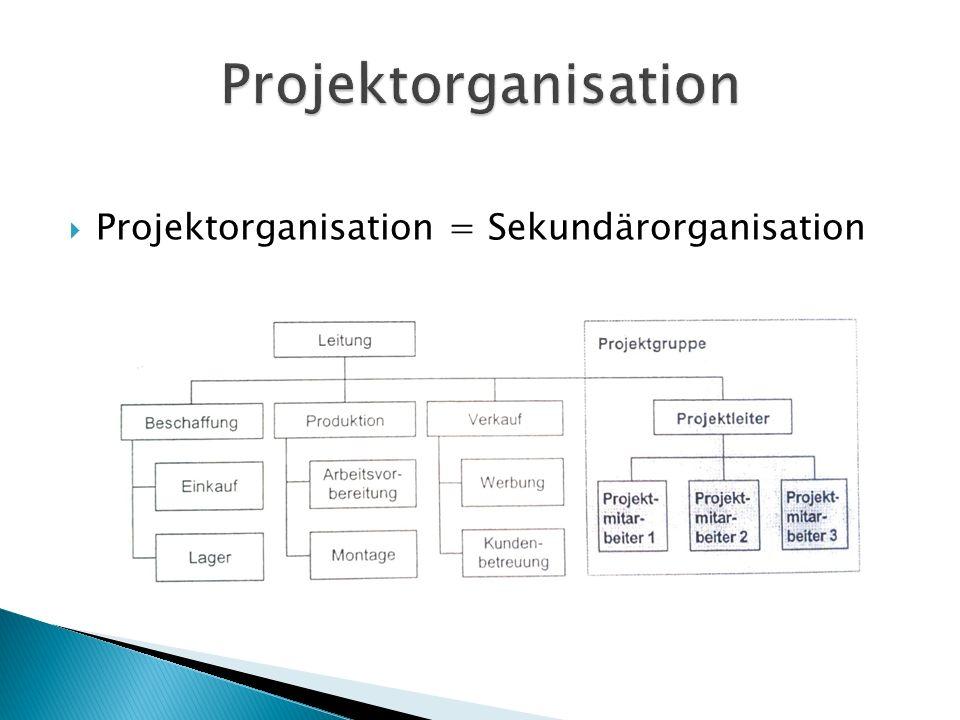  Projektorganisation = Sekundärorganisation