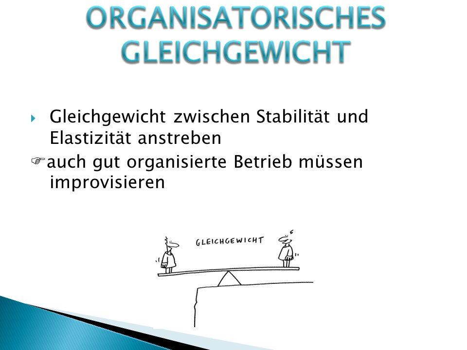  Gleichgewicht zwischen Stabilität und Elastizität anstreben  auch gut organisierte Betrieb müssen improvisieren
