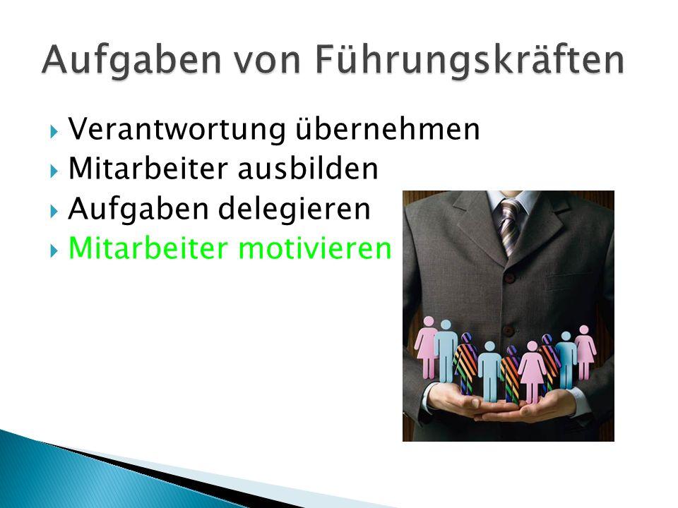  Verantwortung übernehmen  Mitarbeiter ausbilden  Aufgaben delegieren  Mitarbeiter motivieren