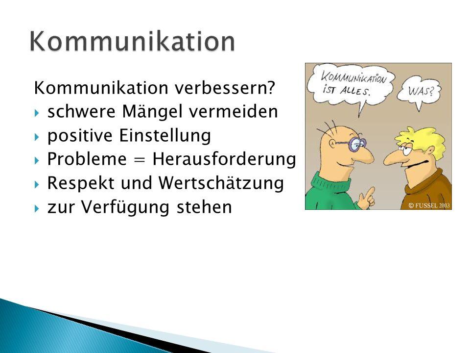 Kommunikation verbessern?  schwere Mängel vermeiden  positive Einstellung  Probleme = Herausforderung  Respekt und Wertschätzung  zur Verfügung s