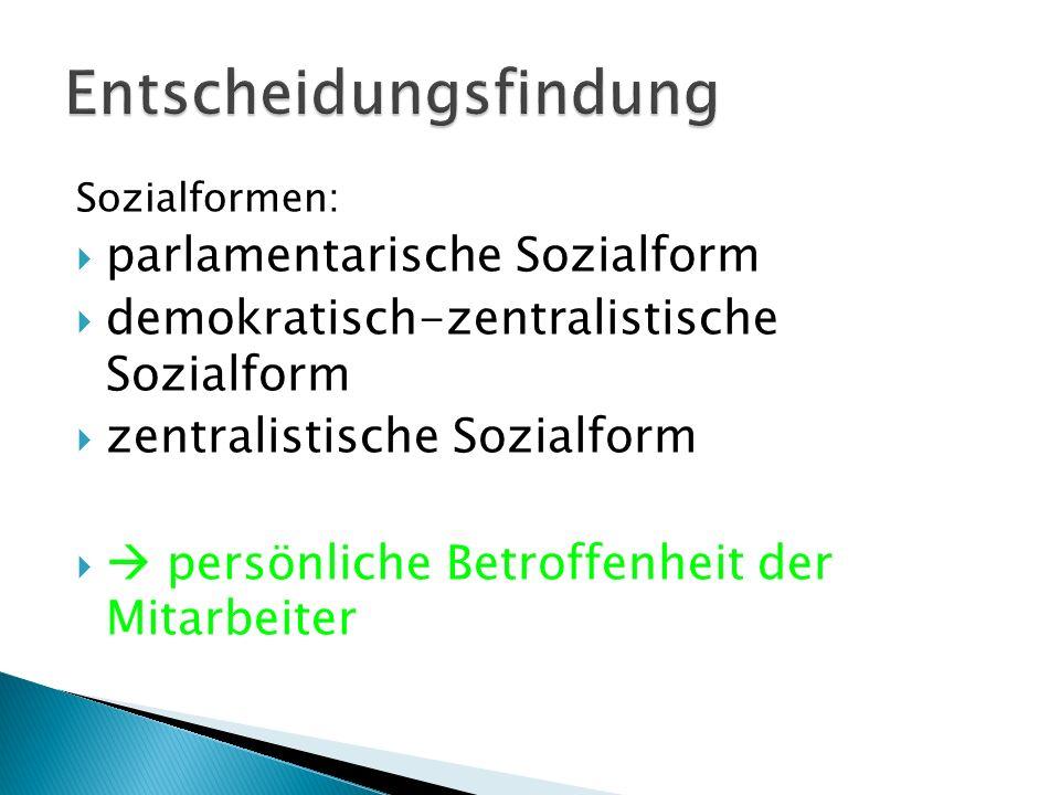 Sozialformen:  parlamentarische Sozialform  demokratisch-zentralistische Sozialform  zentralistische Sozialform   persönliche Betroffenheit der M
