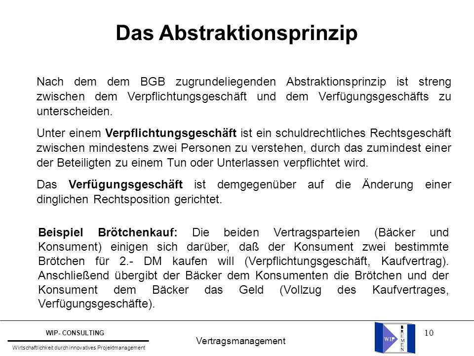 10 Vertragsmanagement WIP- CONSULTING Wirtschaftlichkeit durch innovatives Projektmanagement Das Abstraktionsprinzip Nach dem dem BGB zugrundeliegende