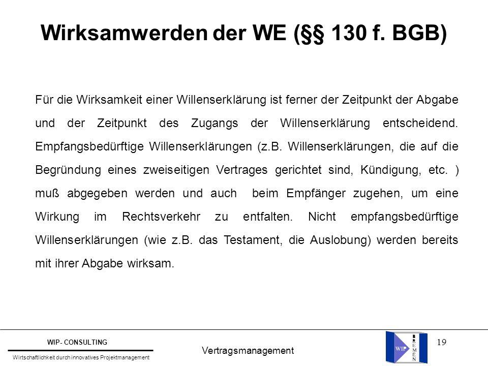 19 Vertragsmanagement WIP- CONSULTING Wirtschaftlichkeit durch innovatives Projektmanagement Wirksamwerden der WE (§§ 130 f. BGB) Für die Wirksamkeit
