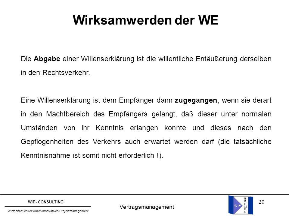 20 Vertragsmanagement WIP- CONSULTING Wirtschaftlichkeit durch innovatives Projektmanagement Wirksamwerden der WE Die Abgabe einer Willenserklärung is