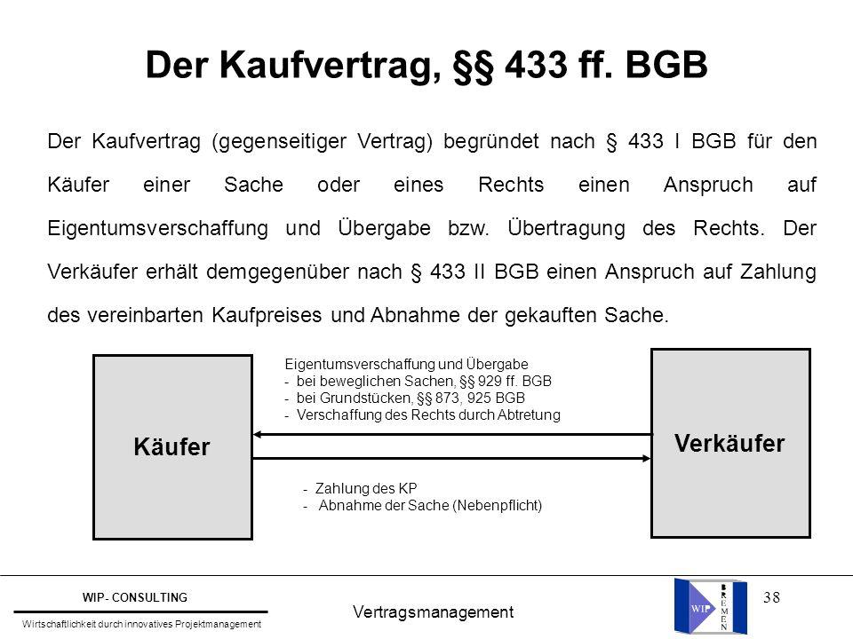 38 Der Kaufvertrag, §§ 433 ff. BGB Vertragsmanagement WIP- CONSULTING Wirtschaftlichkeit durch innovatives Projektmanagement Der Kaufvertrag (gegensei