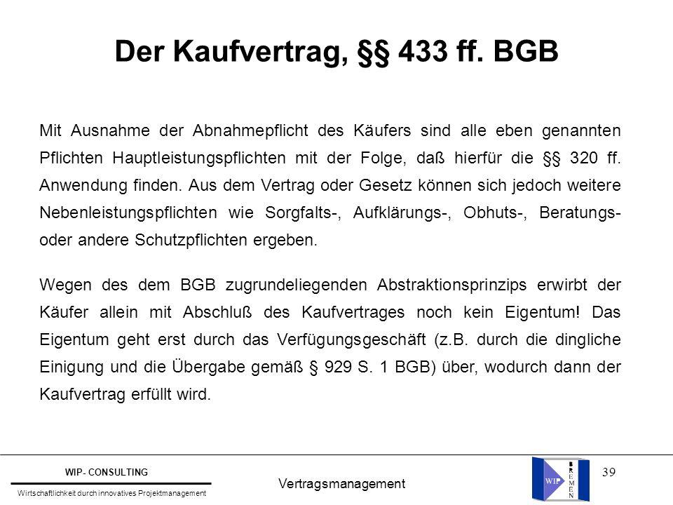 39 Der Kaufvertrag, §§ 433 ff. BGB Vertragsmanagement WIP- CONSULTING Wirtschaftlichkeit durch innovatives Projektmanagement Mit Ausnahme der Abnahmep