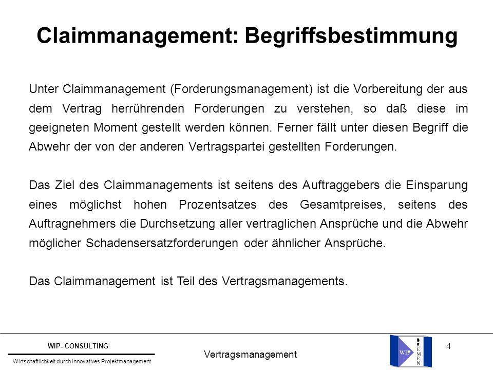 5 Vertragsmanagement WIP- CONSULTING Wirtschaftlichkeit durch innovatives Projektmanagement Stellung des VM im Projektmanagement Kosten Termine Fachbereiche Verträge (Vertragsmanagement) Projektleiter (aus RKW: PMF)