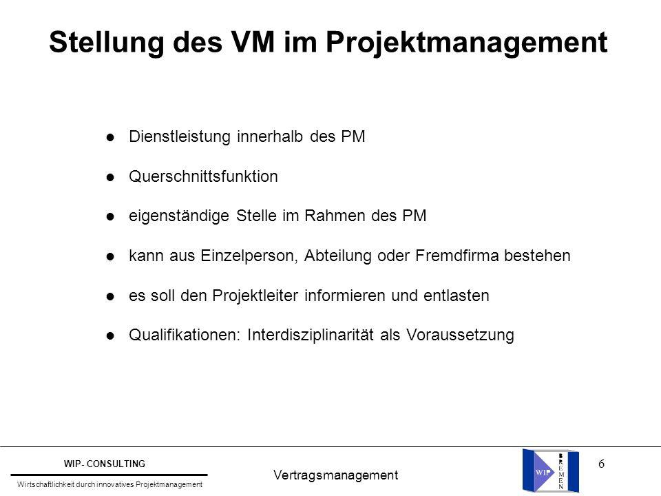 6 Vertragsmanagement WIP- CONSULTING Wirtschaftlichkeit durch innovatives Projektmanagement Stellung des VM im Projektmanagement l Dienstleistung inne