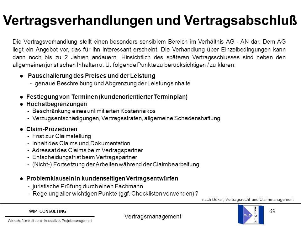 69 Vertragsmanagement WIP- CONSULTING Wirtschaftlichkeit durch innovatives Projektmanagement Vertragsverhandlungen und Vertragsabschluß Die Vertragsve