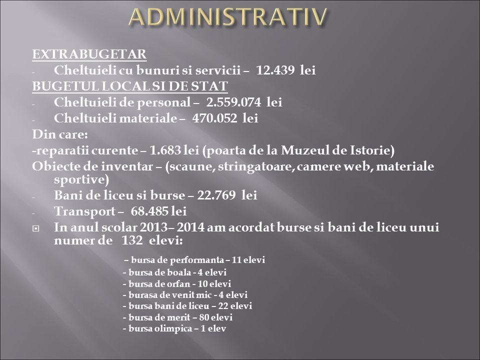 EXTRABUGETAR - Cheltuieli cu bunuri si servicii – 12.439 lei BUGETUL LOCAL SI DE STAT - Cheltuieli de personal – 2.559.074 lei - Cheltuieli materiale