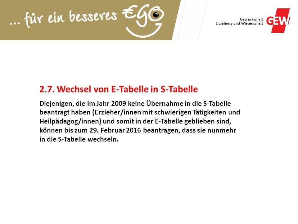 Gewerkschaft Erziehung und Wissenschaft 2.7. Wechsel von E-Tabelle in S-Tabelle Diejenigen, die im Jahr 2009 keine Übernahme in die S-Tabelle beantrag