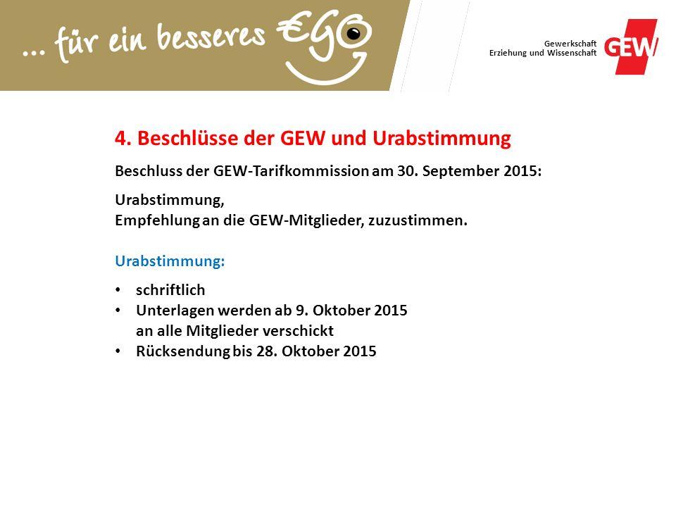 Gewerkschaft Erziehung und Wissenschaft 4. Beschlüsse der GEW und Urabstimmung Beschluss der GEW-Tarifkommission am 30. September 2015: Urabstimmung,