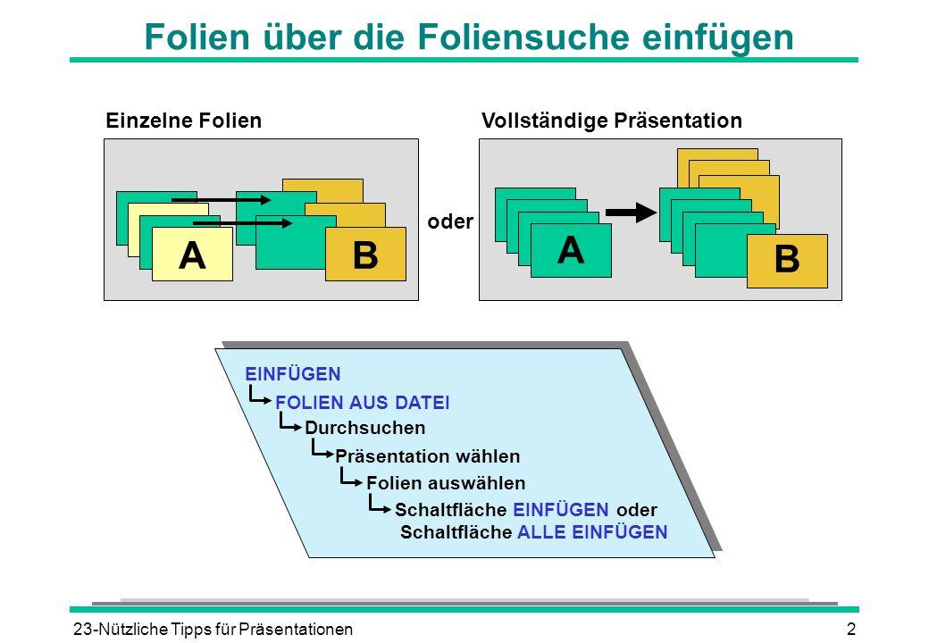 23-Nützliche Tipps für Präsentationen2 Folien über die Foliensuche einfügen Einzelne Folien Vollständige Präsentation oder AB A B EINFÜGEN FOLIEN AUS