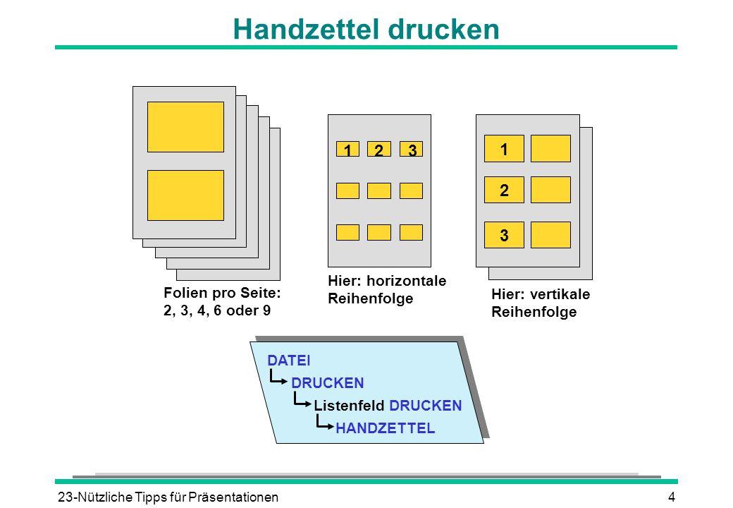 23-Nützliche Tipps für Präsentationen4 Handzettel drucken Listenfeld DRUCKEN HANDZETTEL DATEI DRUCKEN 123 1 2 3 Hier: horizontale Reihenfolge Hier: ve