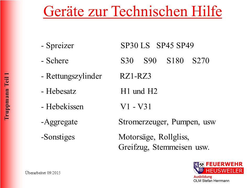 Truppmann Teil 1 Überarbeitet 09/2015 - Spreizer SP30 LS SP45 SP49 - Schere S30 S90S180 S270 - Rettungszylinder RZ1-RZ3 - Hebesatz H1 und H2 - Hebekissen V1 - V31 -Aggregate Stromerzeuger, Pumpen, usw -Sonstiges Motorsäge, Rollgliss, Greifzug, Stemmeisen usw.