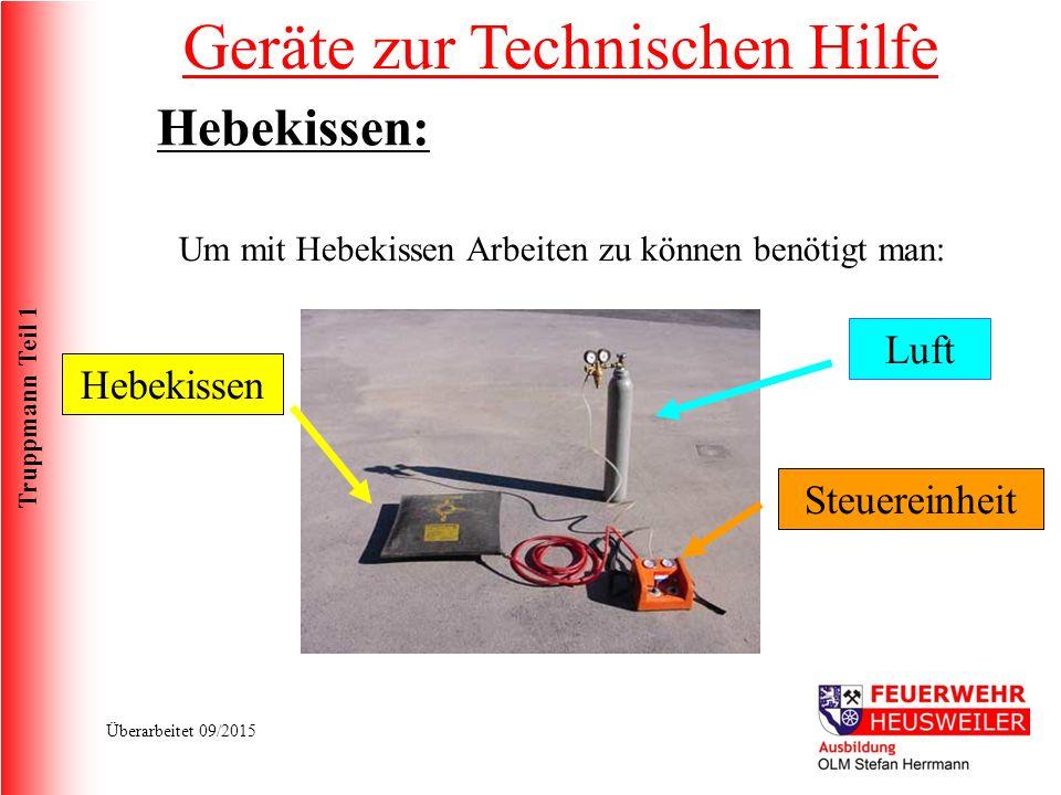 Truppmann Teil 1 Überarbeitet 09/2015 Um mit Hebekissen Arbeiten zu können benötigt man: Luft Steuereinheit Hebekissen Geräte zur Technischen Hilfe Hebekissen: