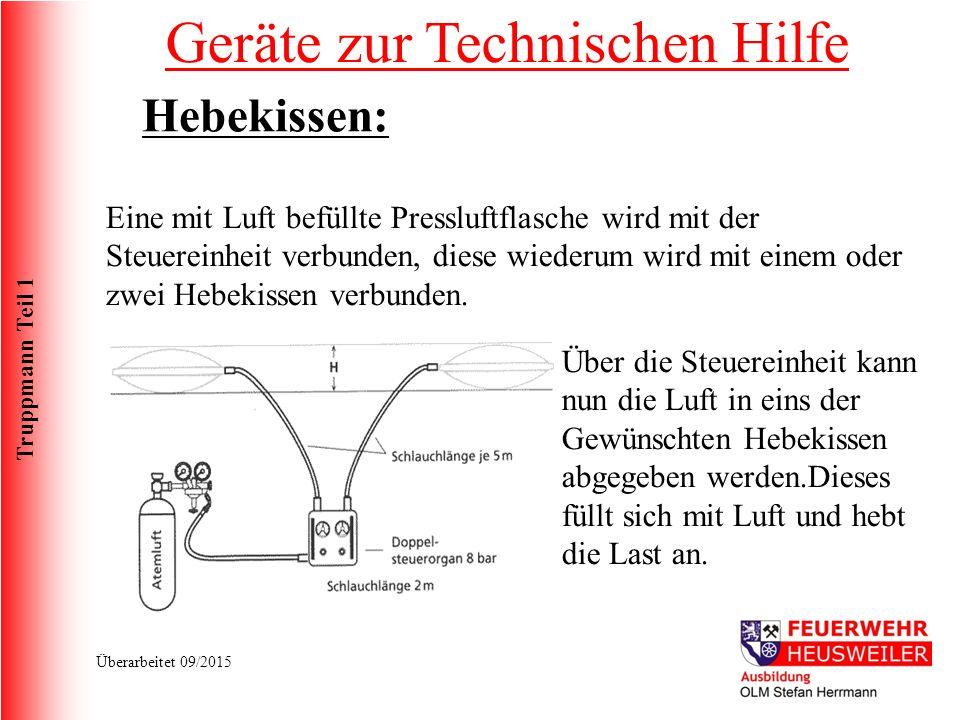 Truppmann Teil 1 Überarbeitet 09/2015 Eine mit Luft befüllte Pressluftflasche wird mit der Steuereinheit verbunden, diese wiederum wird mit einem oder zwei Hebekissen verbunden.