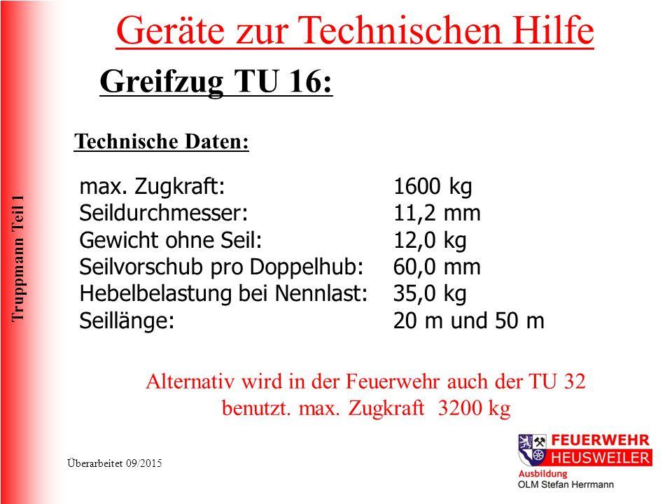 Truppmann Teil 1 Überarbeitet 09/2015 Technische Daten: max.